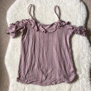 3/35 AEO Pink Striped Shoulder Cut Out T-shirt